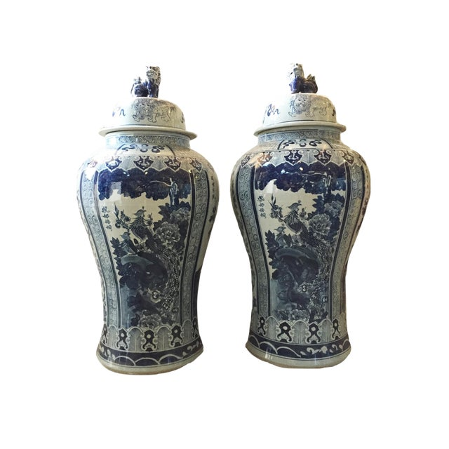 """Mansion Size H. Painted Chinoiserie Ginger Jars - a Pair 47.5"""" H For Sale"""