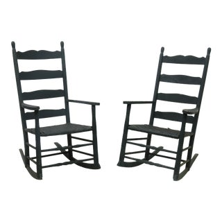 American Blue Painted Ladder-Back Rocking Chairs - A Pair For Sale