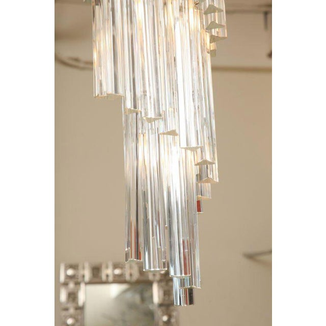 1970s Italian Murano Spiral Crystal Glass Prism Chandelier by Venini For Sale - Image 5 of 8