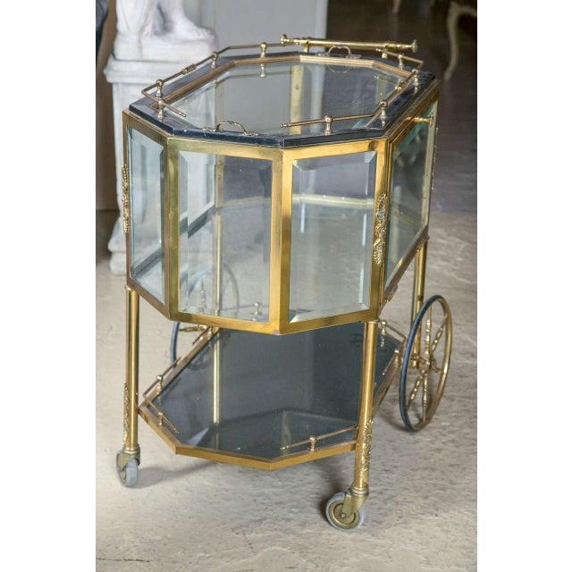 Bronze Bronze & Glass Vitrine Tea Wagon Cart For Sale - Image 7 of 8