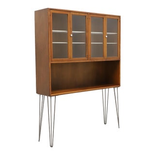Drexel Declaration MCM Walnut Bookcase / Hutch With Hairpin Legs For Sale