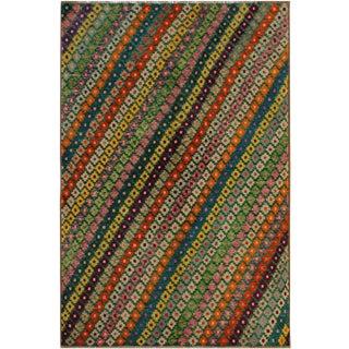1990s Southwestern Balouchi Gabriell Green/Purple Wool Rug - 5'0 X 6'8 For Sale