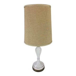 Vintage Ceramic & Bronze Base Table Lamp