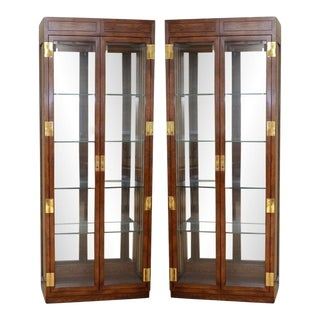 Campaign Style Curio Display Cabinets by Henredon - A Pair For Sale