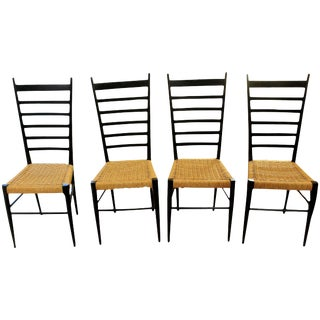 Gio Ponti Style Ladder Back Chairs - Set of 4