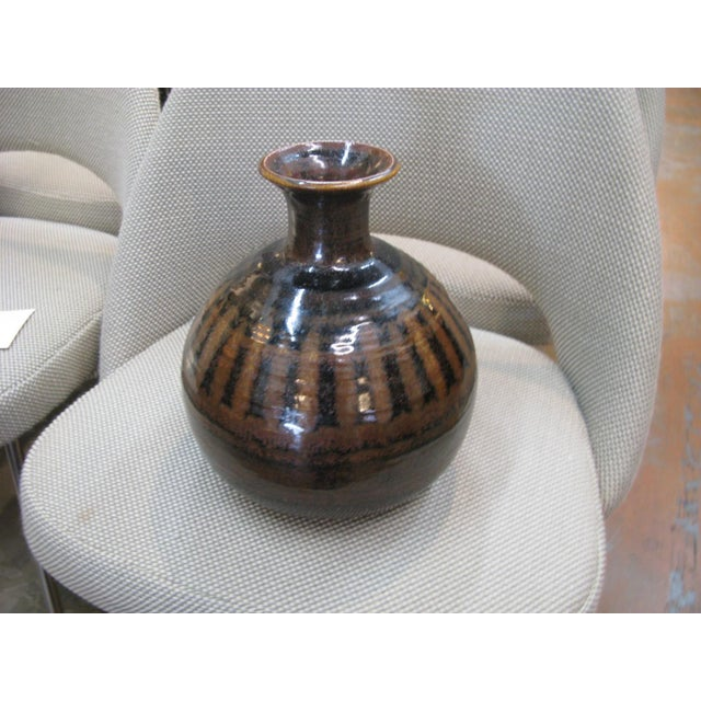 1976 Mid-Century Pottery Vase For Sale - Image 5 of 11
