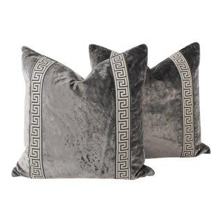 Pewter Shimmer Velvet Greek Key Pillows, a Pair