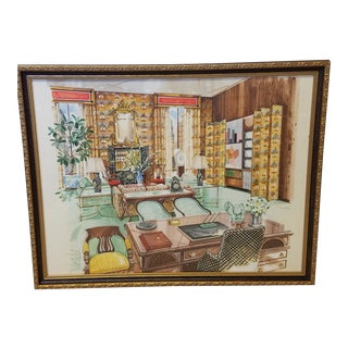 Vintage Framed Original Interior Watercolor Rendering of a Swanky Office Signed For Sale