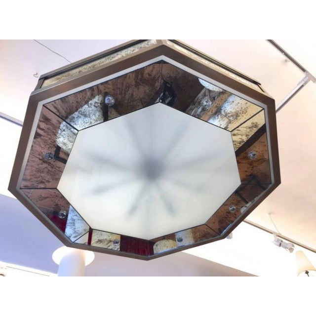 Bronze Andre Hayat Large Octagonal Chandelier in Patina Bronze and Oxidized Mirror For Sale - Image 7 of 8