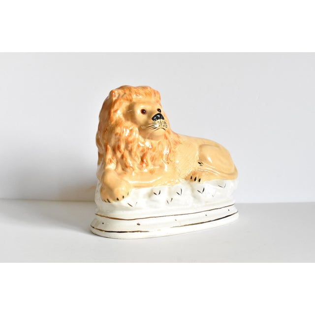 Mid 20th Century Vintage Staffordshire Style Recumbent Lions - a Pair For Sale - Image 9 of 12