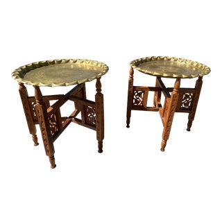 1960's Moroccan Style Vintage Carved Wood and Brass Tray Tables - a Pair For Sale