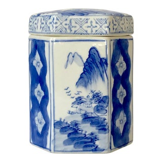 Vintage Chinese Blue and White Tea Canister or Caddy For Sale