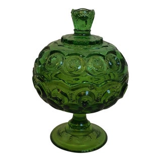 Green Depression Glass Candy Dish For Sale