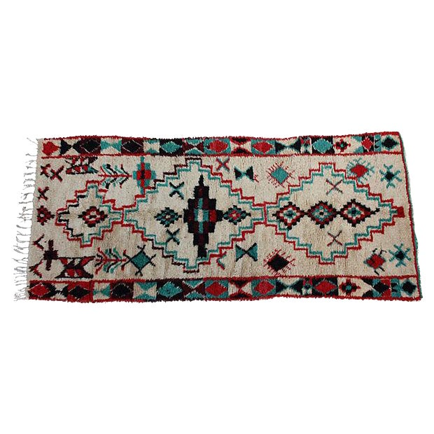 "Red & Turquoise Moroccan Rug - 8'6"" X 3'8"" - Image 1 of 5"