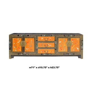 Chinese Oriental Brown Orange Butterflies Flower Low Tv Console Cabinet Preview