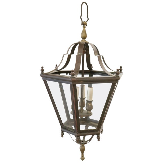 20th Century Italian Brass Lantern Three Lights For Sale