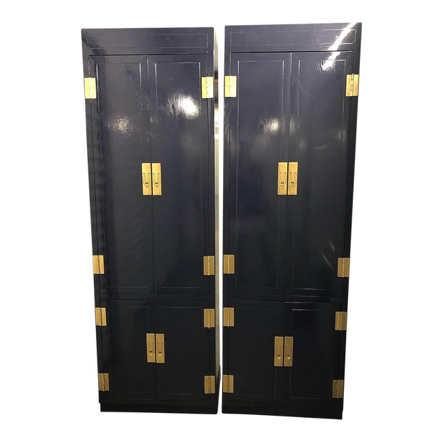 1970s Campaign Henredon Lacquered Towers - a Pair For Sale