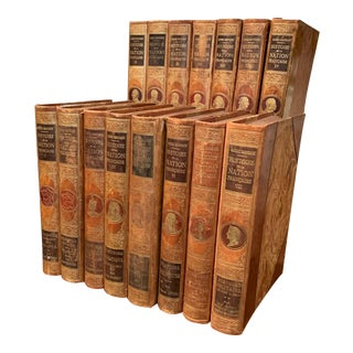 Early 20th Century Complete Set of Fifteen Leather Bound French History Books For Sale