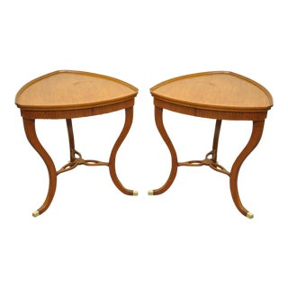 Pair of Custom Adams Regency Style Satinwood Mahogany Triangle Side End Tables For Sale