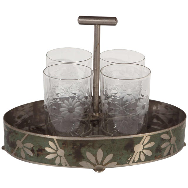 Early 20th Century Dinanderie Cocktail Caddy & Glasses - 5 Pieces Set For Sale