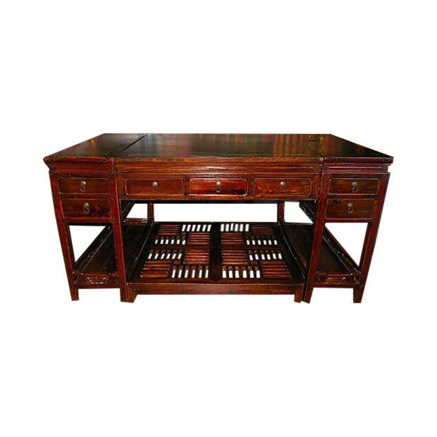 Rare Chinese Rosewood Partner's Desk, C. 1920 - Image 1 of 9