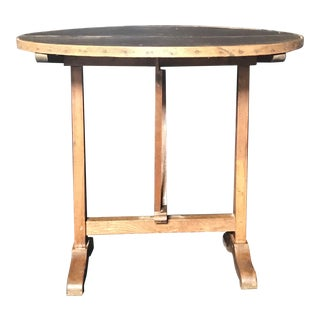 19th Century Antique French Leather Top Wine Tasting and Dining Table For Sale