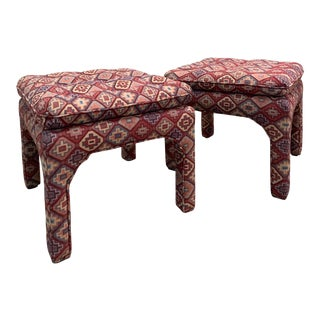 Milo Baughman Style Upholstered Parsons Stools in Ikat Fabric— a Pair For Sale