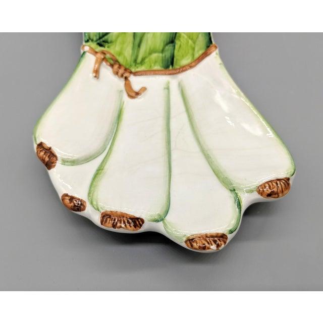 Italian Majolica Ceramiche Leonardo Leek Vegetable Tray For Sale - Image 4 of 10