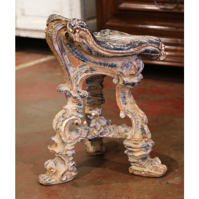 Early 20th Century French Carved Painted and Silver Vanity Chair or Piano Stool For Sale - Image 4 of 13
