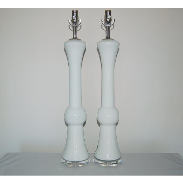 Murano Vintage Murano Glass Table Lamps White For Sale - Image 4 of 9
