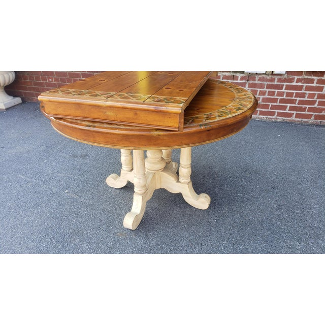 """country 48"""" diameter pine dining room table  chairish"""