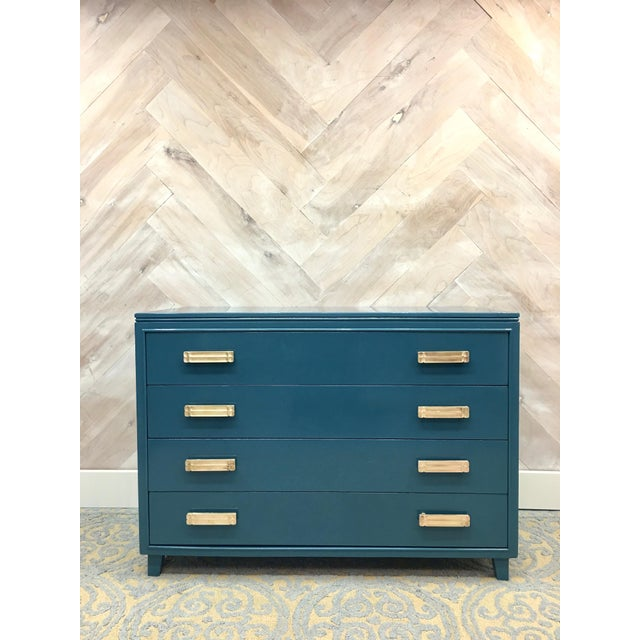 Lacquered Teal Brass Hardware Dresser - Image 2 of 7