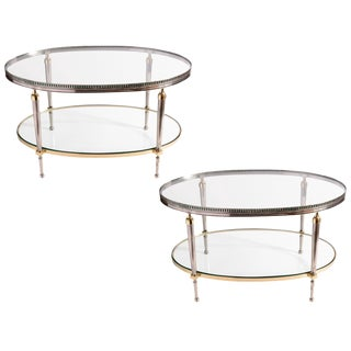 Pair of Brass Gallery Two Tier Brass & Steel Side Tables
