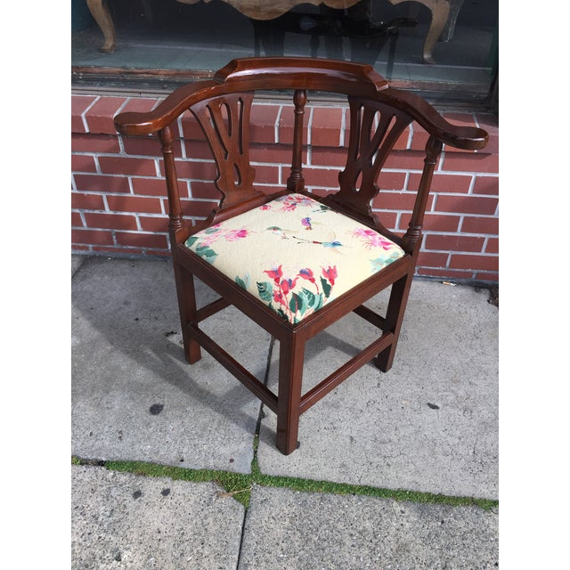 Georgian Style Needlepoint Upholstery Mahogany Corner Chair - Image 2 of 9