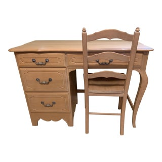 Vintage Ethan Allen Bisque Country French Desk & Chair For Sale