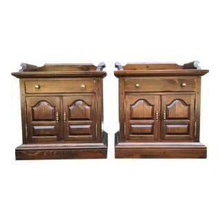 Ethan Allen Antiqued Pine Collection Nightstands - a Pair For Sale