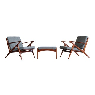 1950s Vintage Poul Jensen for Selig Z Chairs and Ottoman- 3 Pieces For Sale