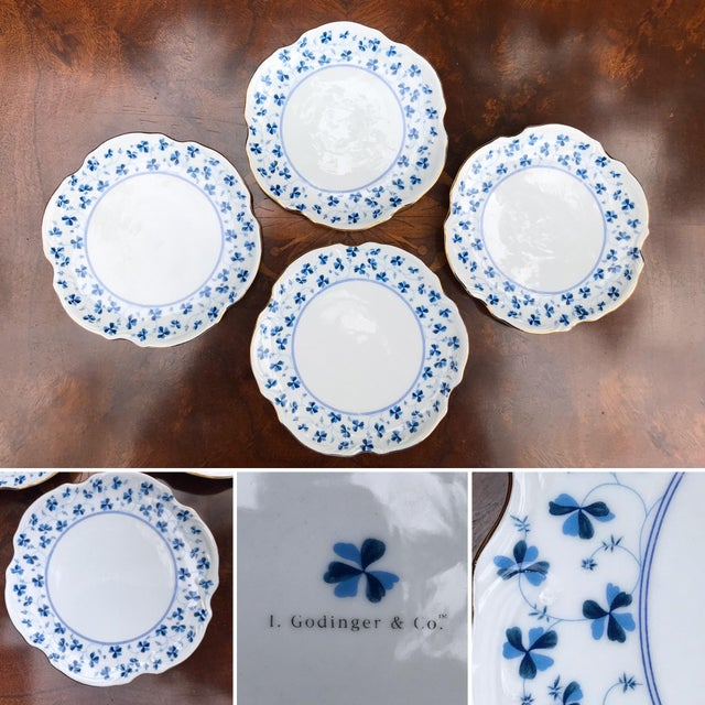 Ceramic Godinger and Company Dessert Plates in the Blue Belle Pattern - Set of 4 For Sale - Image 7 of 8