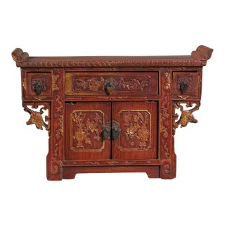 19th Century Antique Chinese Red Lacquer Altar Buffet For Sale