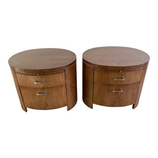 Jay Spectre Pair of Seruced Wood Nightstands for Century For Sale