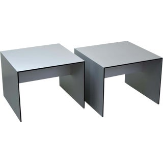 Mid-Century Modern Style Open Cube Brushed Aluminum End Tables - A Pair