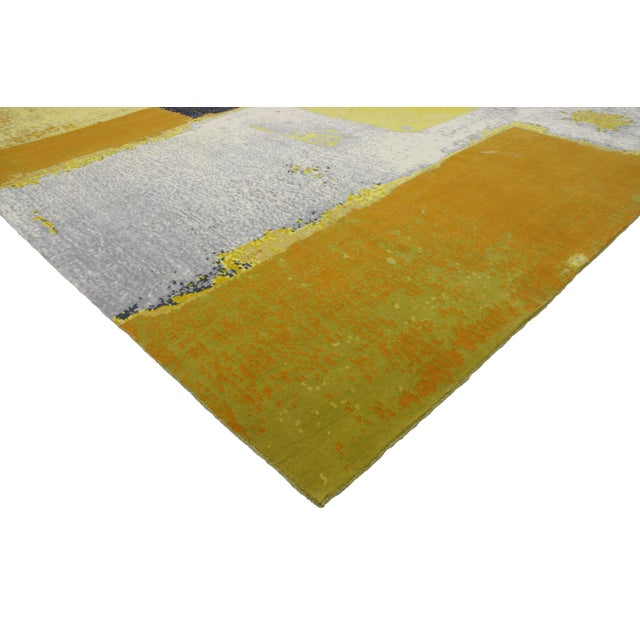 """Abstract Modern Style Contemporary Abstract Color Block Rug - 9' x 12'1"""" For Sale - Image 3 of 8"""