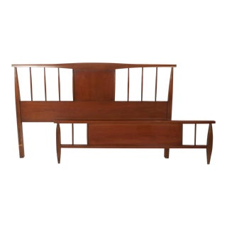 Mid-Century Modern Walnut Headboard and Footboard For Sale