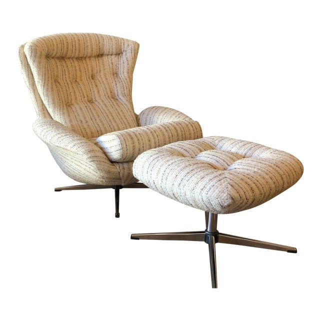 Mid-Century Swedish Tufted Egg Swivel Chair With Swivel Ottoman For Sale