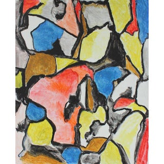 Abstract Expressionist Painting in Primary Colors, Mid 20th Century For Sale