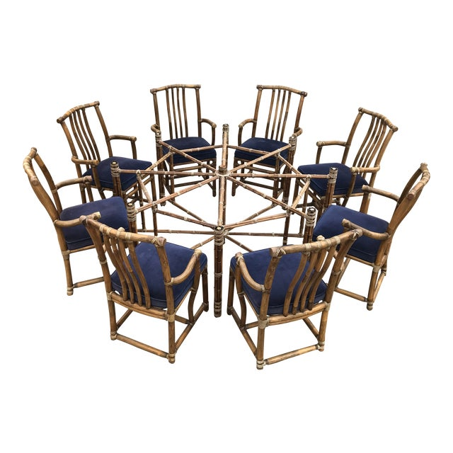 Monumental McGuire Dining Set - 9 Pieces For Sale