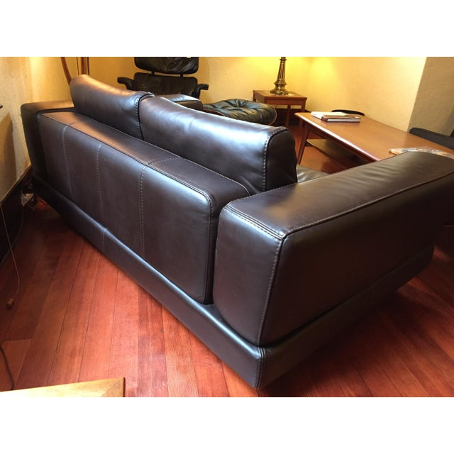 Roche Bobois Low Profile Leather Loveseat - Image 9 of 11