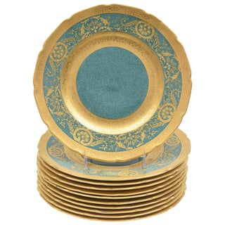 Set of 11 Vibrant Teal or Turquoise Green and Gilt Encrusted Dessert Plates For Sale
