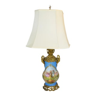 Antique Hand Painted Moorish Invasion Scene Porcelain Lamp For Sale