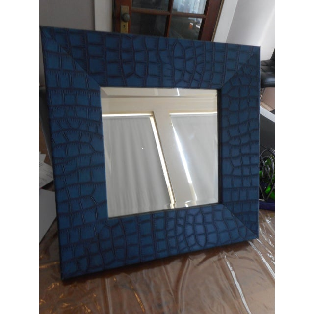 Modern Blue Leather Faux Crocodile Mirror - Image 2 of 4